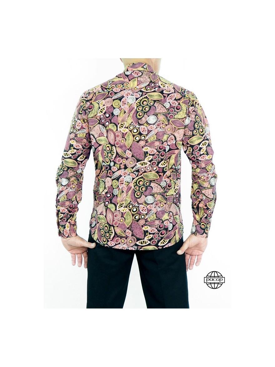 Chemise Noire Fantaisie Fuchsia Homme Pas Cher Homme 100% Coton Manches Longues
