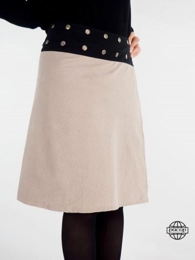 Jupe femme beige pour femme taille haute en velours côtelé
