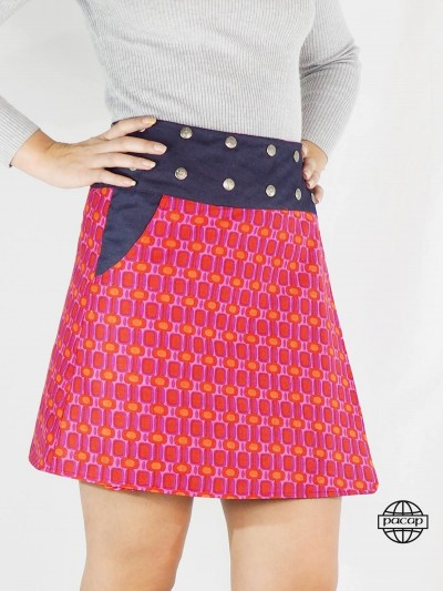 Skirt in Jean Mi-Longue-JIXI