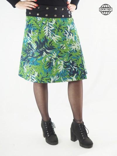 jupe verte longue a imprimé feuillages