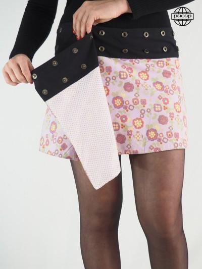 Mini jupe réversible rose et blanche