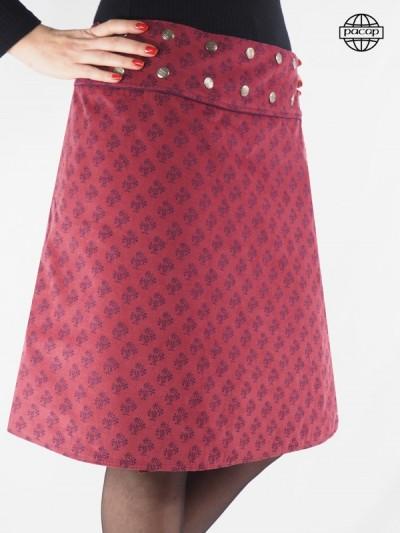 Velvet-red long skirt