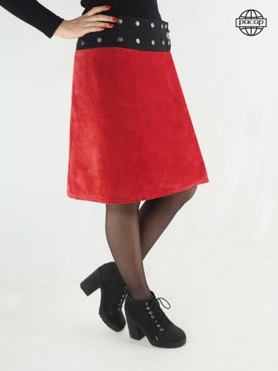 Skirt Long Wired Suedin Red...