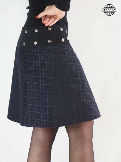 Skirt Trapèze Mi-long Velvet Mauve Satiné