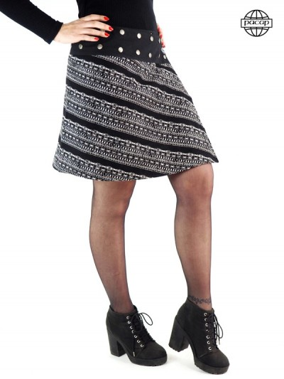 jupe évasée rayée noire