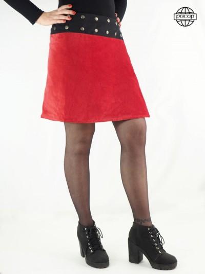 Jupe Mi-Longue Suédine Rouge Evasée - MIGINA