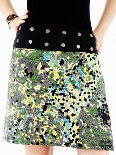 Jupe jaune fluide taille unique imprimé mosaïque pour femme ceinture à pression