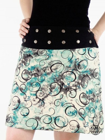 jupe beige été fluide pour femme en viscose simili soie taille réglable