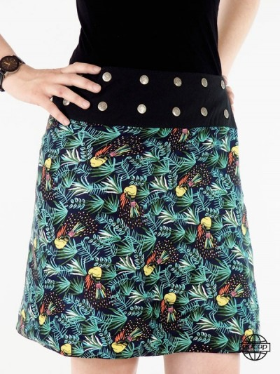 jupe  avec imprimé animal perroquet et feuillage foret
