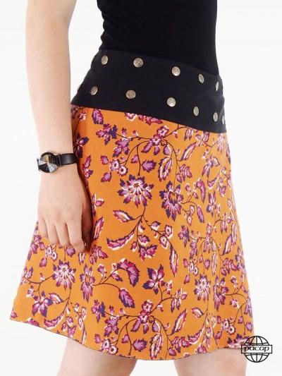 jupe orange imprimé  fleurs pour femme