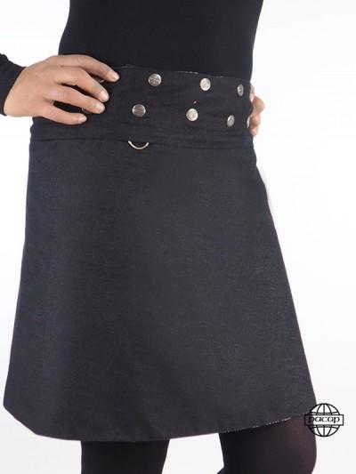 jupe jean noir bouton pression avec poche