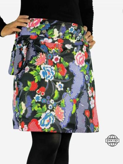 jupe droite en jean zippée imprimé fleurs