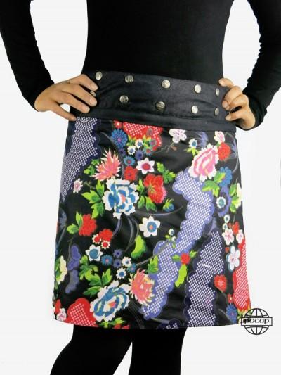 jupe zippée en jean boutonnée