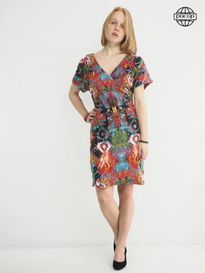 Robe colorée imprimée, robe d'été, robe femme, rob col v, robe coeur croisé