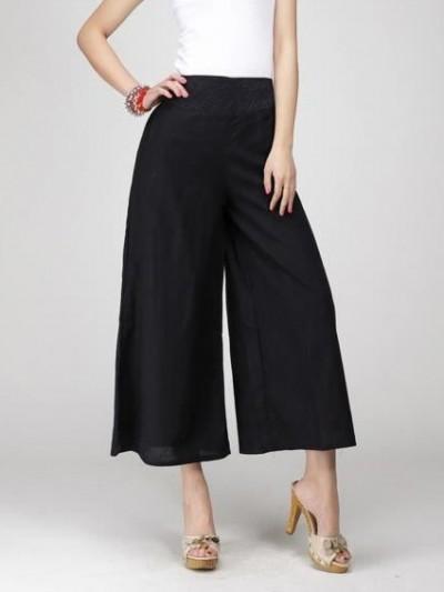Pantalon noir ample, pantalon noir large, pantalon noir évase, pantalon souple.