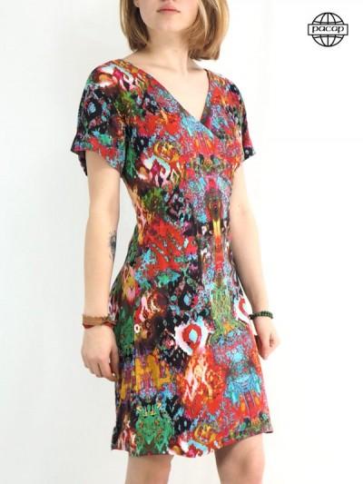 robe longue et robe courte été coeur croisé a manches courte pour femme avec imprimé