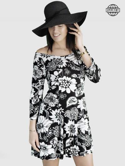 robe volante et plissée a fleurs noires et blanches, robe manche longues pour femme collection été