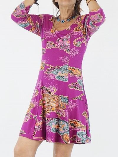 robe rose courte plissée pour femme a manches longues