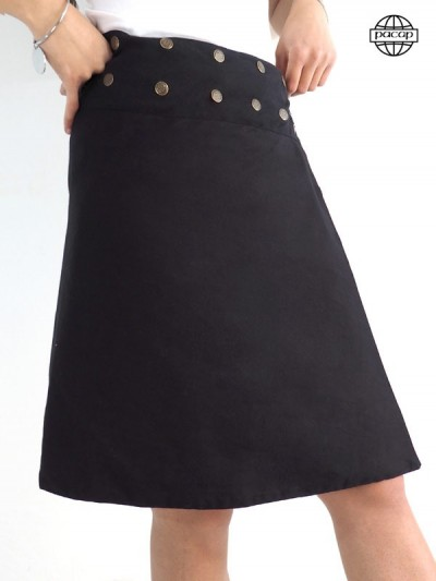 Long maxi skirt Black Portfolio Reversible Reason Tribal Multicolore-LALATINA Skirt Skier