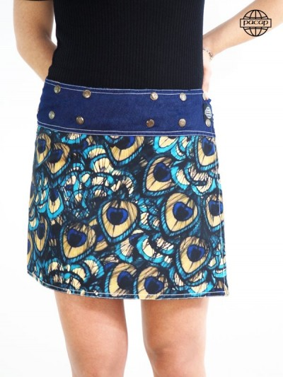 Publishing Limited, Skirt Printing Digitale Ground Animals Paon Plumes En Jean