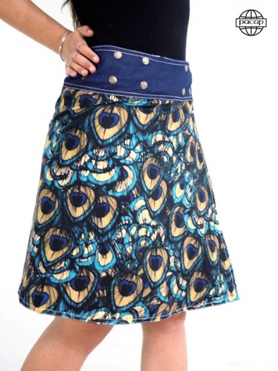 Edition Limited, Skirt Print Digitale Ground Animals Paon Blue and Yellow Feathers
