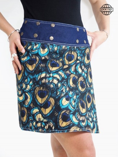 Edition Limited, Skirt Print Digitale Ground Animals Paon Plumes In Jean Bleu