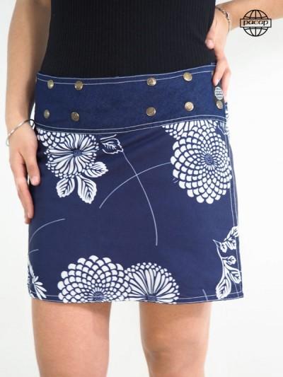 Short Skirt Print Digitale Reason Japanese Blue Cotton