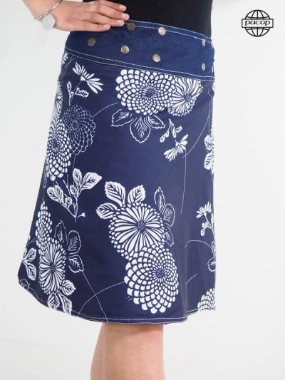 Jupe longue bleue boutonnée Impression Digitale Motif Japonais lotus et fleurs jardin botanique