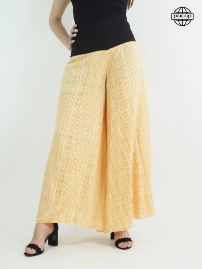 Wide trousers, light trousers, yellow pants, summer trousers, female pants.