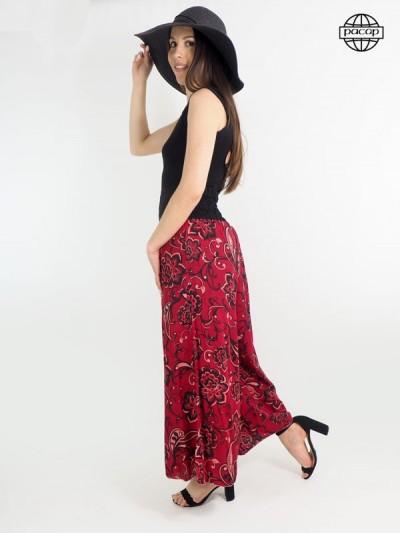 Wide trousers, burgundy red trousers, summer pants, fleuri pants, female pants.