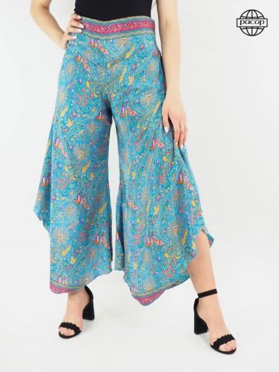Pantalon femme, pantalon été, pantalon fendu, pantalon ample, pantalon large, pantalon palazzo