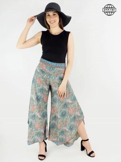 Pantalon large, pantalon fendu, pantalon femme, pantalon été, pantalon fleuri, pantalon ceinture smockée, pantalon palazzo.