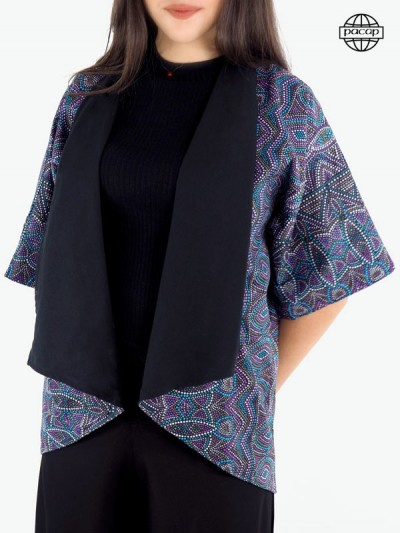 Veste ample, blouse, veste kimono femme, veste été femme, veste réversible, veste violette, veste ethnique