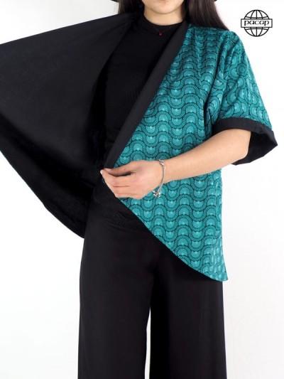 Veste ample, blouse, veste kimono femme, veste bleue, veste coton, veste à imprimé