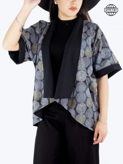 Veste ample, blouse, veste kimono femme, veste en coton, cardigan femme, veste grise, veste réversible