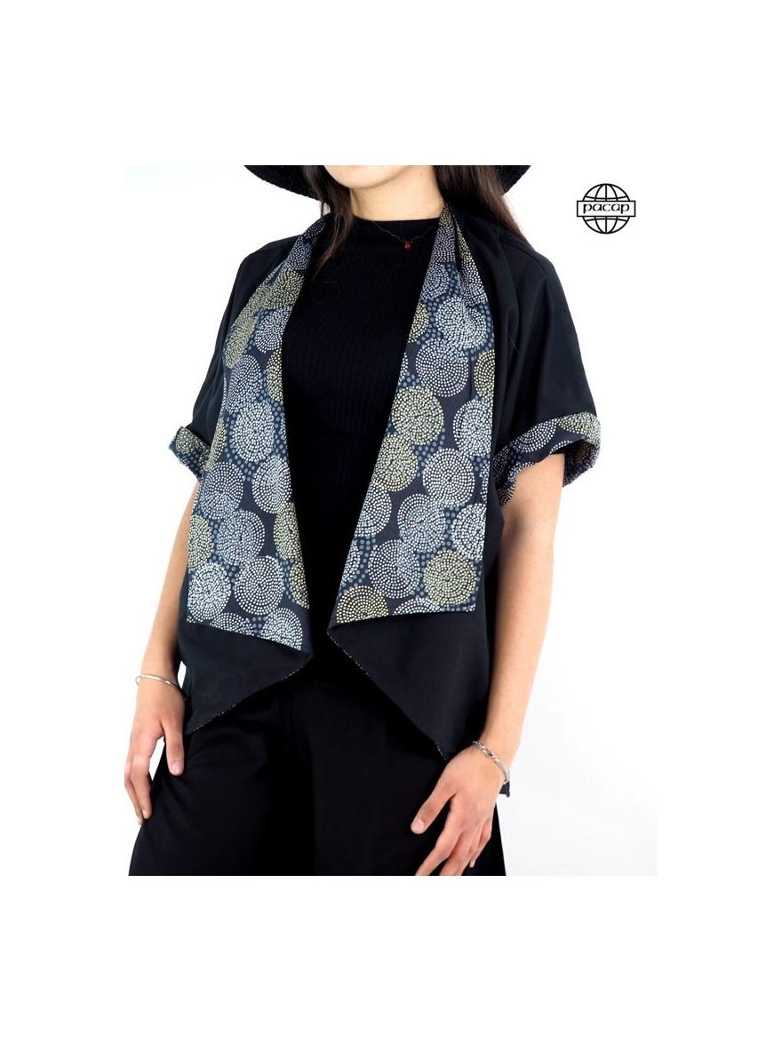 Veste ample, blouse, veste kimono femme, veste en coton, cardigan femme, veste noire