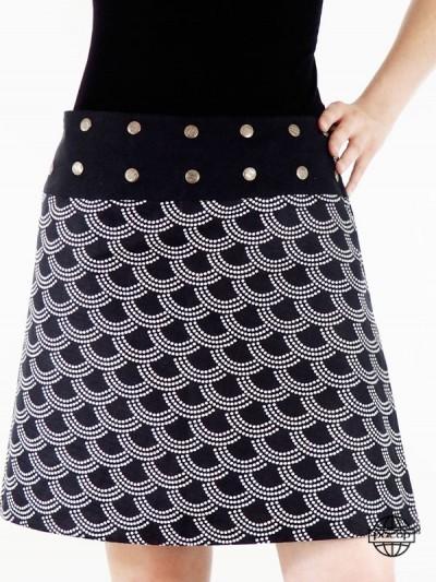 jupe noir pour femme avec motif et dessin japonais