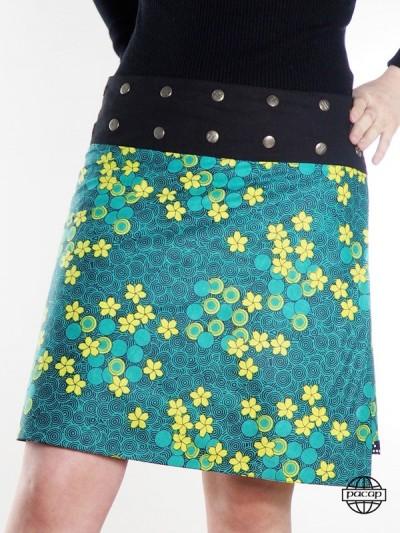 jupe portefeuille verte pour grande taille ceinture boutonnée et ajustable