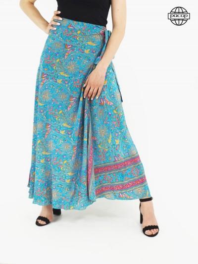 Long skirt, silk skirt, skirt summer, skirt woman, flower skirt, skirt with flying skirt, skirt to be formed, blue skirt