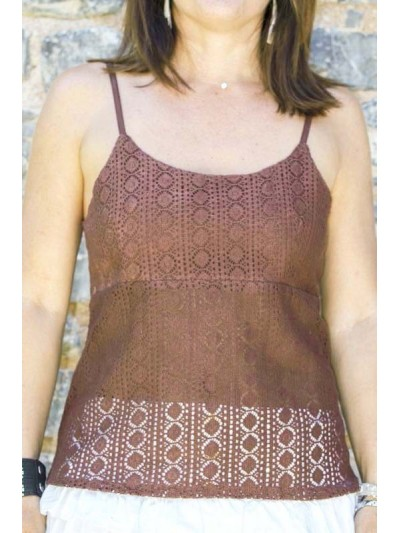 Top embroidered, top in lace, top woman, embroiderer embroidery, top woman, top fine straps.