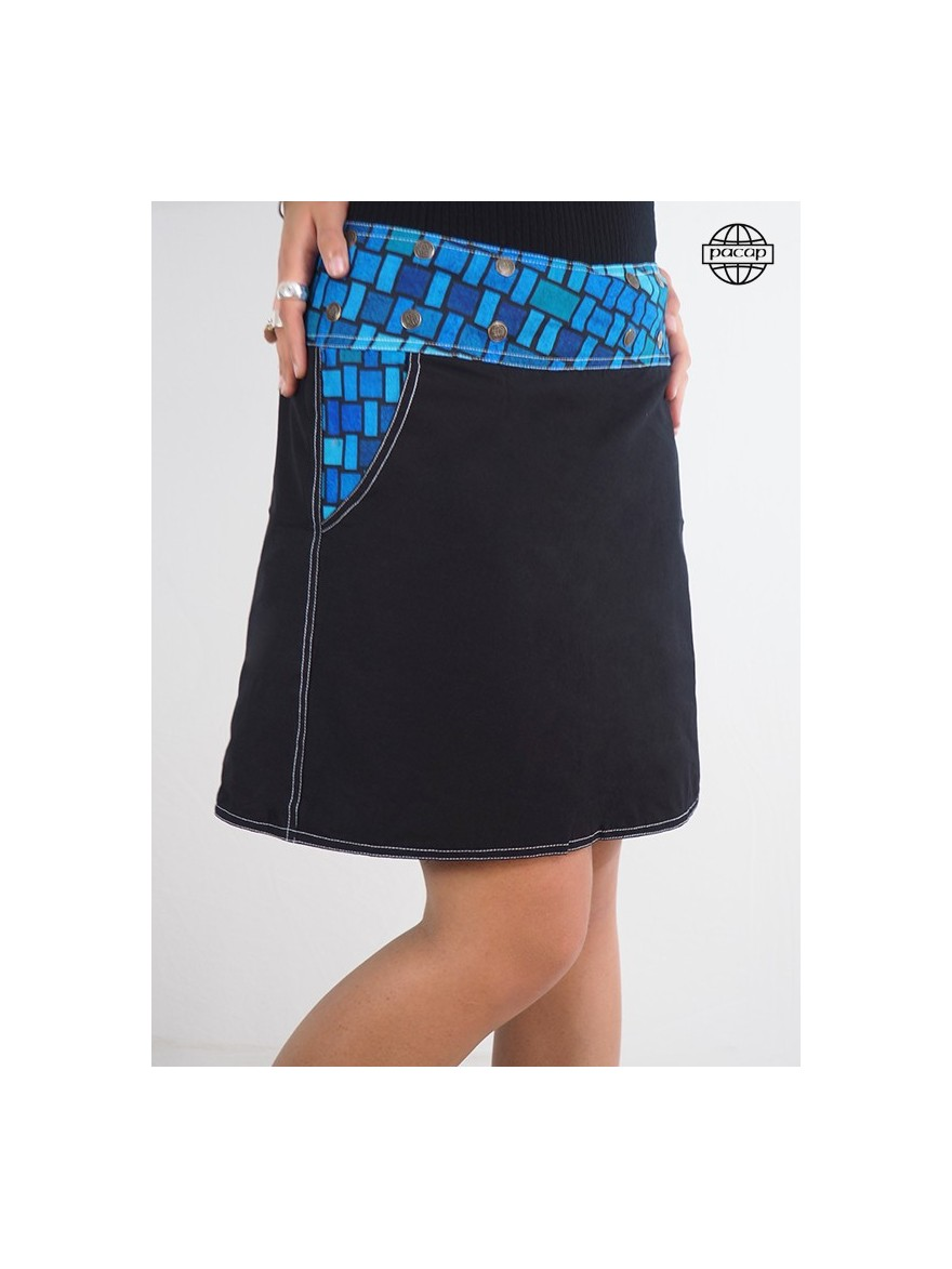 Skirt pocket for female belt with pressure and blue pattern
