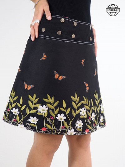 Black skirt a flower for woman adjustable size