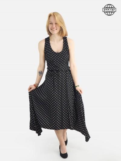 Longue robe été noire a pois blancs pour femme sans manches