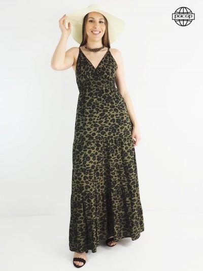 Robe longue, robe léopard, robe d'été, robe femme, robe kaki