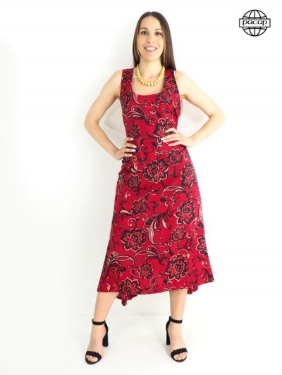 Robe longue, robe d'été, robe rouge bordeaux, robe femme