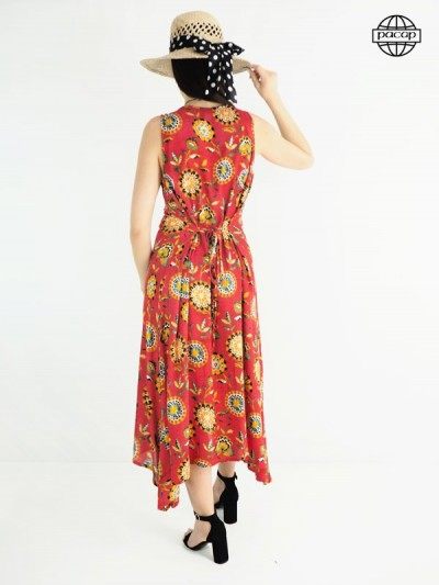 Dress dress, orange dress, red dress, dress with flowers, long dress, woman dress