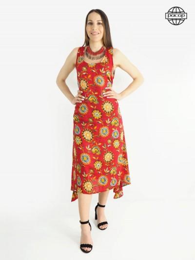 Robe été, robe longue, robe femme, robe rouge, robe orange