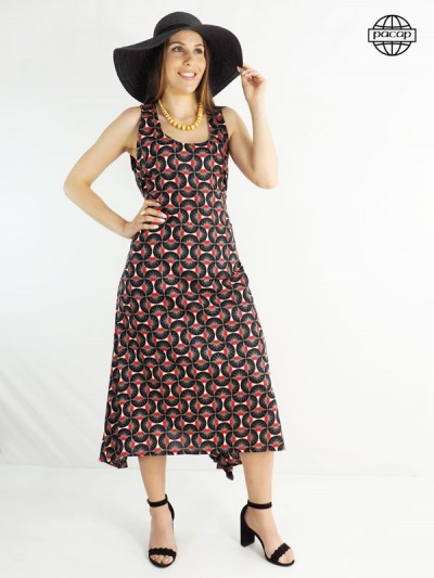Fluid dress, summer dress, long dress, black dress, raspberry dress