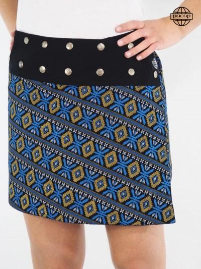 Jupe été, jupe portefeuille femme, jupe réversible, jupe courte, jupe motif aztèque, jupe bleue
