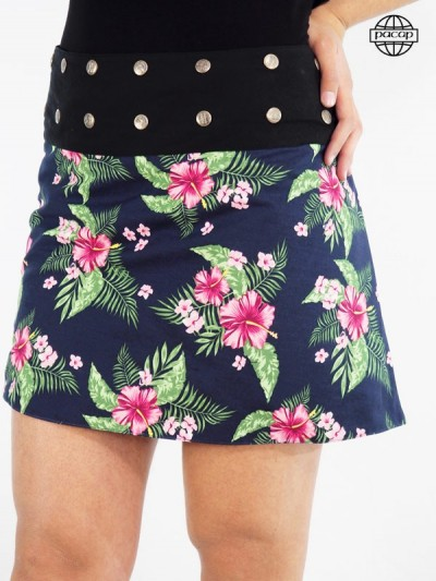 Jupe femme, jupe à fleurs, jupe à boutons pressions, jupe courte, jupe d'été